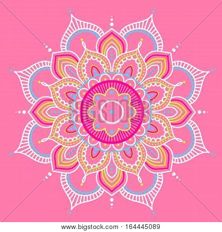 Colorful abstract mandala on pink background, ethno motive, vector illustration, eps 10