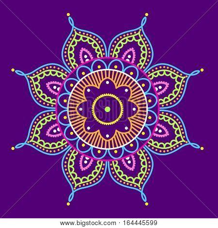 Simple colorful abstract mandala on purple background, ethno motive, vector illustration, eps 10