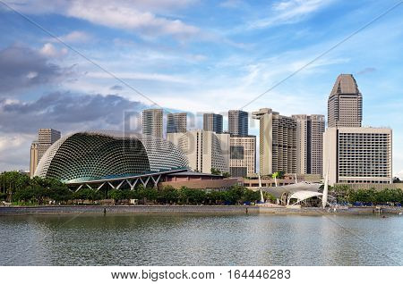 Singapore Cityscape At Evening Time. Amazing Modern Buildings