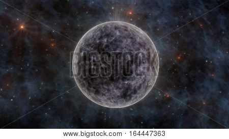 The Moon Stars Stardust and Planets In Space 3D Rendering
