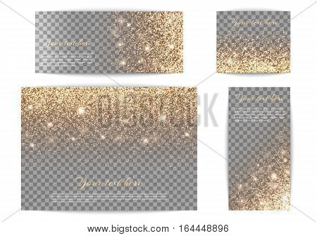 Set of banners with golden highlights on a transparent background