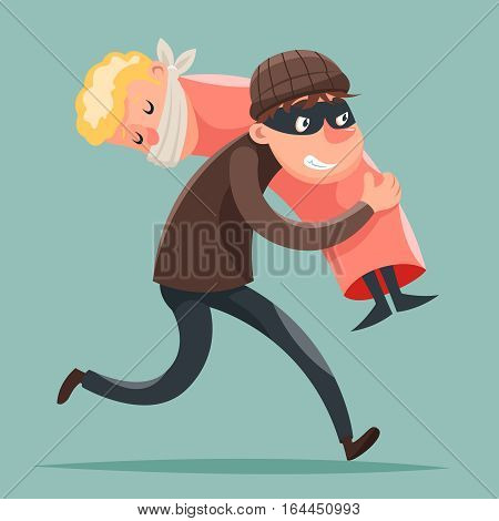 Kidnapper Running Away Hostage Character Icon Design Template Vector Illustration
