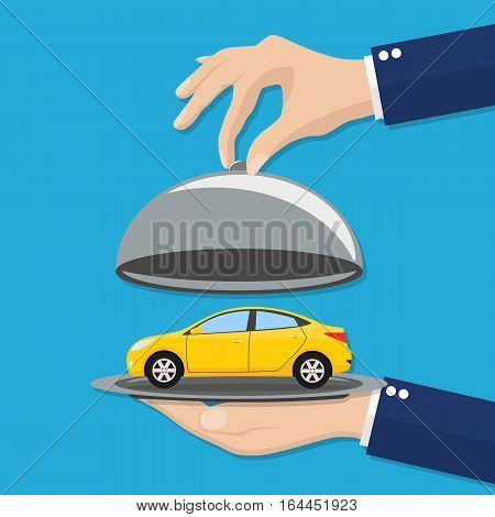 Hand opens serve cloche with yellow car inside. present concept. vector illustration in flat design on blue background.