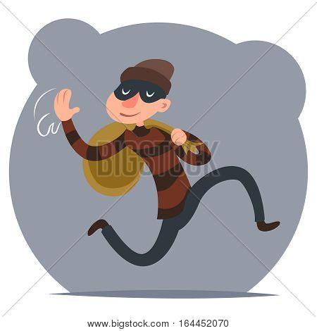 Thief Escapes Loot Run Character Retro Cartoon Design Vector Illustration