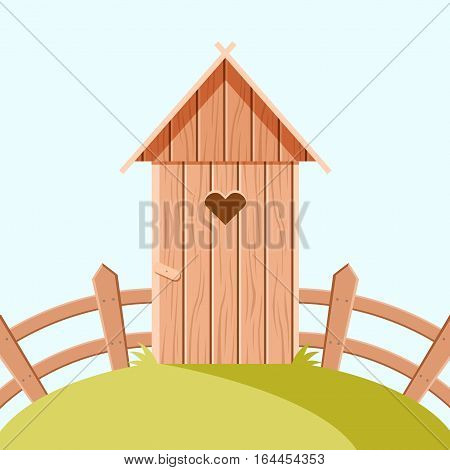 Vector image of the Villiage wooden toilet