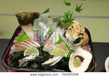 Great Breakfast with seafood: fish, shellfish and seaweed