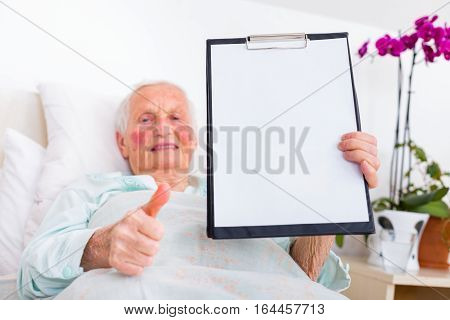 Happy Patient Holding Copyspace