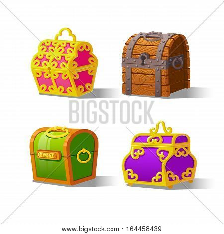 Closed Chest set for game interface.Vector illustration. Treasure on white background.Wooden, with lock, with a cipher, color, decorative.