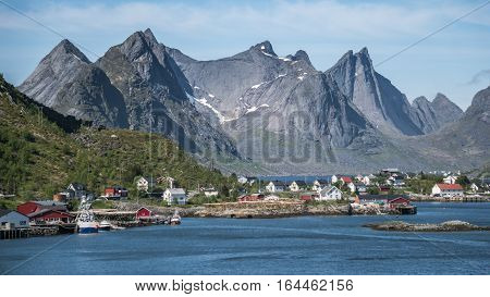Reinebrinen, Norway - June 1, 2016: Scenery from Reine, a famous fishing village in Norway