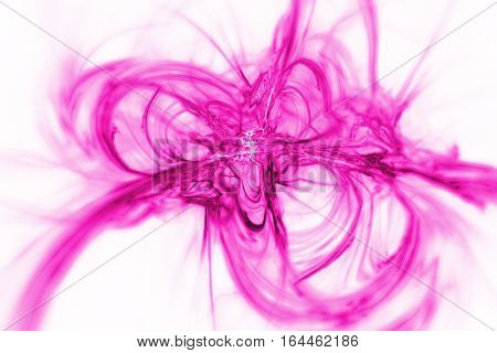 Abstract Pink Smoky Shapes On White Background. Fantasy Fractal Texture. 3D Rendering.