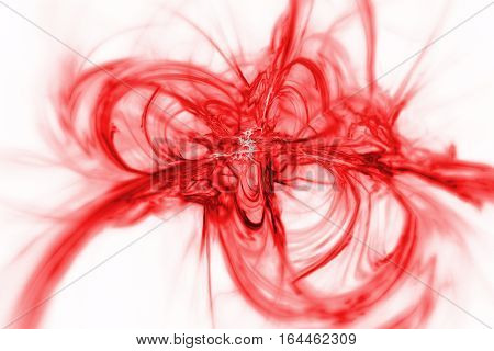 Abstract Red Smoky Shapes On White Background. Fantasy Fractal Texture. 3D Rendering.
