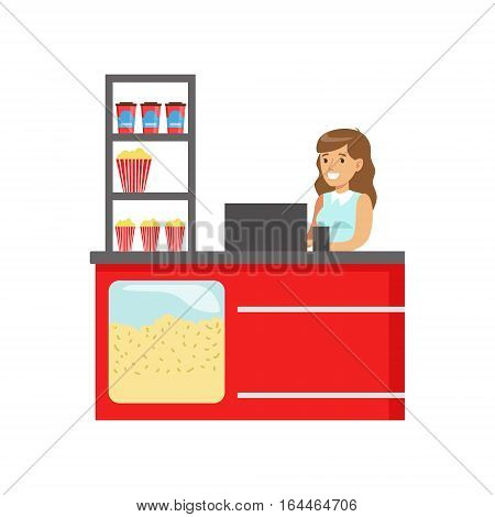 Woman Cinema Snack Seller At The Bar Counter, Part Of Happy People In Movie Theatre Series. Vector Illustration With Cartoon Characters Indoors At The Movies
