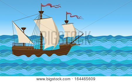 Boat wooden big ship vessel nave barque ark sail sailboat water sea river ocean wave background vector closeup side vintage old beautiful square sign signboard illustration sign sea life seascape