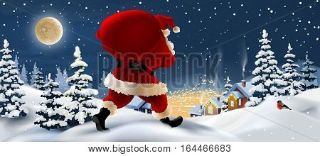 Vector background winter landscape with Santa Claus in the foreground. Greeting card with snowy Christmas night.