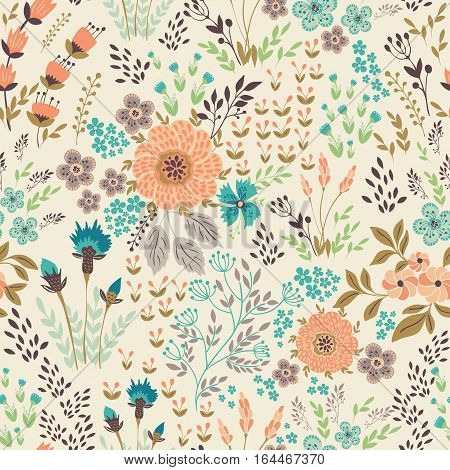 Seamless vector floral pattern, spring or summer backdrop. Hand drawn surface pattern design with flowers in garden. Seamless texture can be used for wallpapers, pattern fills, surface textures.