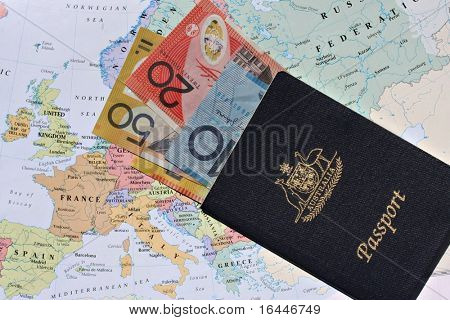 Australian passport and banknotes with Map background