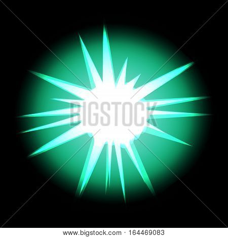 Star with rays white turquoise in space cosmos isolated on black background vector