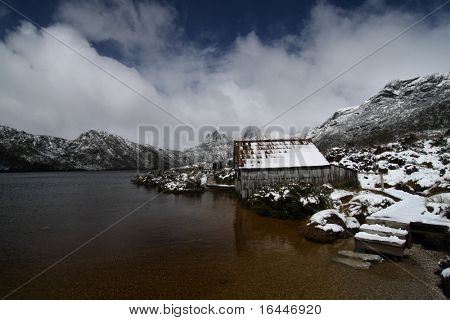 Old wooden boathouse at Dove Lake in Cradle Mountain National Park