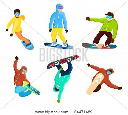Snowboarding extreme tricks set isolated vector illustration. Winter extreme sport, outdoor adventure, mountain activities, downhill surfing. Snowboard rider in protective gear jumping on mountain.