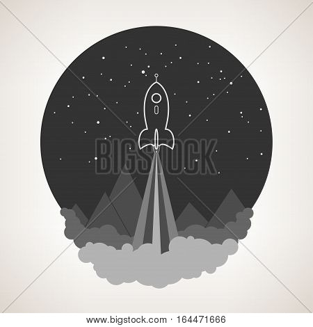 Spaceship on background of the starry sky and  mountains ,spacecraft flying in space, launch space rocket