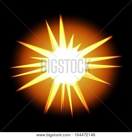 Star with rays white gold yellow in space cosmos isolated on black background vector