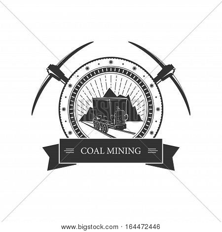 Vintage emblem of the mining industry ,coal mine trolley against mountains and sunburst, label and badge mine shaft ,coal mining
