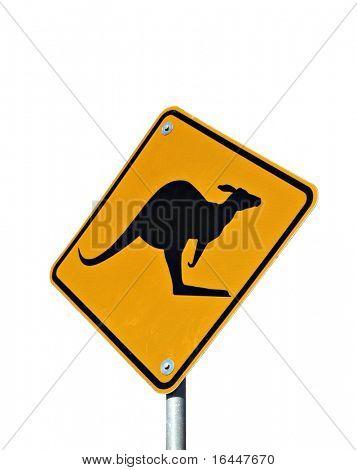 Kangaroo Road Sign isolated on white
