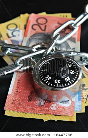 Combination Padlock and Australian money