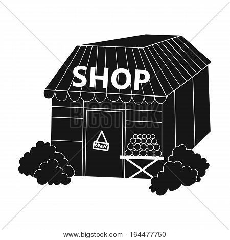 Supermarket icon in black design isolated on white background. Supermarket symbol stock vector illustration.