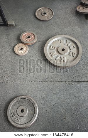dumbbell and weight iron plates for Fitness