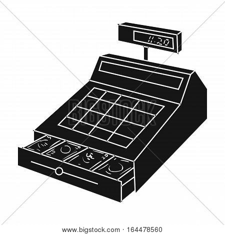 Cashbox icon in black design isolated on white background. Supermarket symbol stock vector illustration.