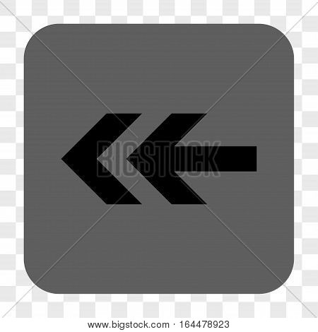 Arrow Left interface toolbar button. Vector icon style is a flat symbol in a rounded square button black and gray colors chess transparent background.