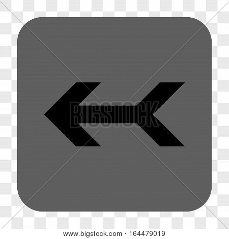 Arrow Left interface toolbar button. Vector icon style is a flat symbol inside a rounded square button black and gray colors chess transparent background.