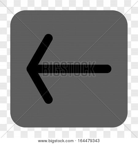 Arrow Left interface toolbar button. Vector icon style is a flat symbol on a rounded square button black and gray colors chess transparent background.