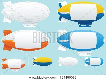 Various tethered and powered blimps with blank space on them for your own message.