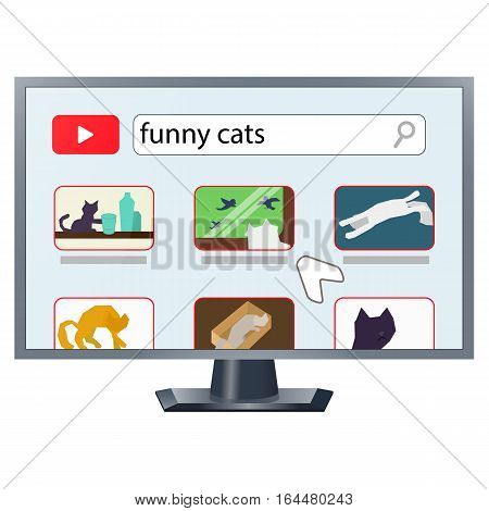 Realistic TV drawing with internet video streaming site opened showing cat videos and cursor. Cats throwing objects on the floor, watching birds. laying in cardboard box. Stock vector.