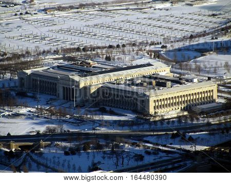 Aerial View of the Field Museum on Museum Campus in Chicago in the winter time