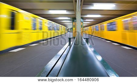 Berlin Germany - November 28 2016: Berlin U-Bahn two trains at the station