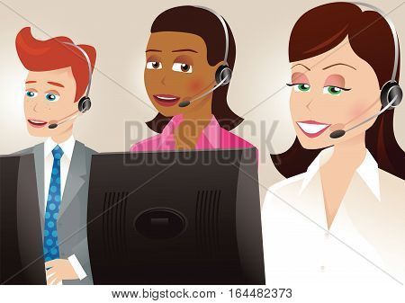 An illustration of three call center workers at their workstations.