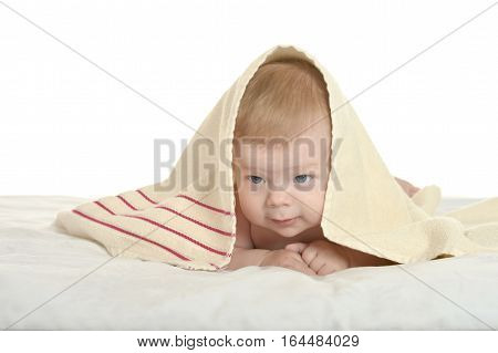Adorable baby boy  under  blanket on  background