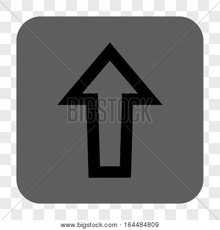 Arrow Up interface toolbar button. Vector icon style is a flat symbol inside a rounded square button black and gray colors chess transparent background.