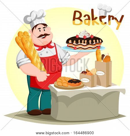 Baker with baguette holding cake with cream and cherry. Bakery doughnut or donut, pastry cookie and sliced loaf of bread. Cook and bakery profession icon, bakehouse or pastry shop, store banner