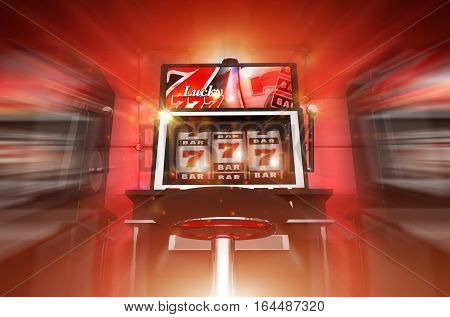 Lucky Slot Machine Winner Concept 3D Render Illustration. Lucky Casino Slot Machine