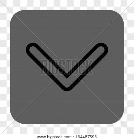 Arrowhead Down interface toolbar button. Vector icon style is a flat symbol on a rounded square button black and gray colors chess transparent background.