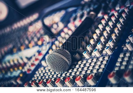 Microphone and Audio Mixer Recording Studio Concept Photo. Audio Technologies.