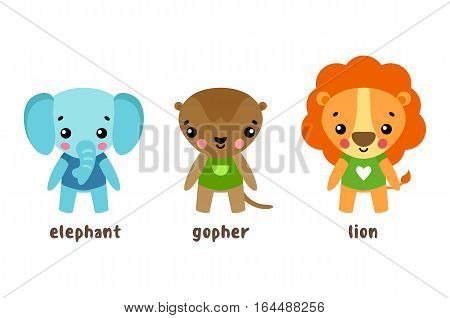 Set of cartoon characters of wild animals in cloth. Jungle elephant with trunk or proboscis, safari lion with mane, happy and smiling gopher. Zoo and animal baby or kids with smiling faces theme