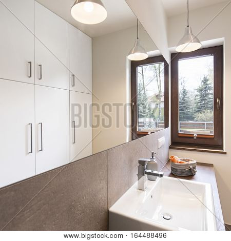 Modern Bathroom With Wooden Unit