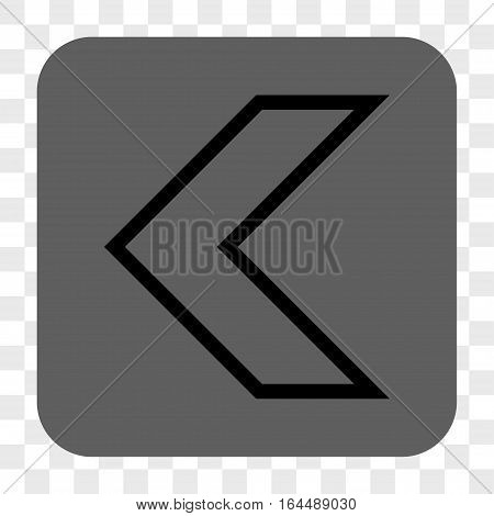 Arrowhead Left interface toolbar button. Vector icon style is a flat symbol on a rounded square button black and gray colors chess transparent background.