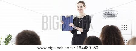 Young Woman Presenting Company Strategy