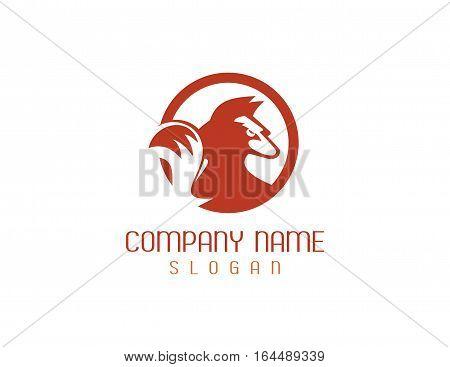 Orange fox logo design on white background